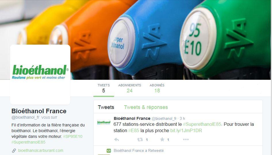 La filière bioéthanol est sur Twitter