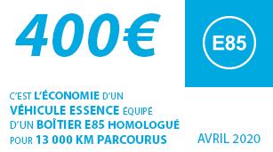400€ : C'est l'économie d'un véhicule essence équipé d'un boîtier E85 homologué pour 13 000 km parcourus